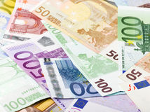 Euro bank notes. Many euro bank notes on white background Royalty Free Stock Image