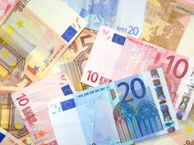 Euro bank notes. Many euro bank notes background Stock Photography