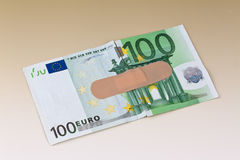 Euro bank notes with adhesive Stock Photos