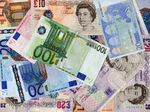 Euro bank notes background Stock Photo