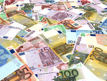 Euro bank notes background. Perspective view royalty free illustration