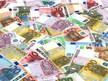 Euro bank notes background. Perspective view Stock Photography