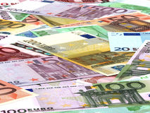 Euro bank notes background. Perspective view Royalty Free Stock Image