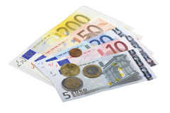 Euro bank notes and coins Stock Image