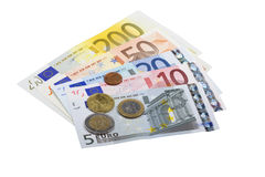 Euro bank notes and coins Stock Photos