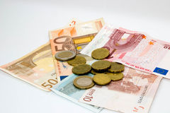 Euro Bank Notes and Coins Royalty Free Stock Photography