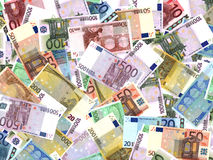 Euro bank notes. Different Euro bank notes background Stock Illustration