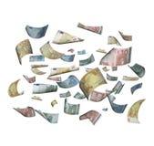 Euro bank notes falling Royalty Free Stock Image