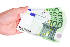 Euro bank notes. A hand holding euro bank notes Stock Images