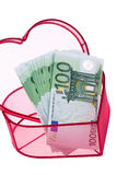 Euro bank notes with a heart Royalty Free Stock Image