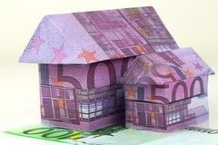 Euro bank notes House. Real estate concept with Euro bank notes House Royalty Free Stock Photography