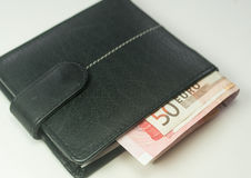 Euro bank notes inside a black wallet Royalty Free Stock Image