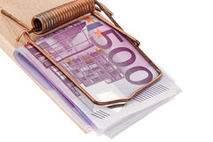 Euro bank notes in a mousetrap. Stock Photos