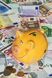 Euro Bank notes with a piggy bank illustrating success Royalty Free Stock Photos
