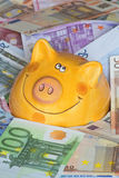 Euro Bank notes with a piggy bank showing Drowning in money Royalty Free Stock Photography