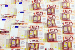 Euro bank notes. Scattered euro bank notes background Stock Image