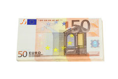 Euro bank notes. A stack of euro bank notes Stock Photos