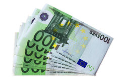 Euro bank notes. A stack of euro bank notes Royalty Free Stock Photography