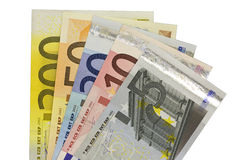 Euro bank notes widespread. Euro banknotes widespread in front of white background Royalty Free Stock Photos