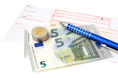 Euro bank transfer with  money, slip, pen Stock Photos