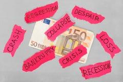 Euro bankbiljet met negatieve tekens royalty-vrije stock afbeeldingen