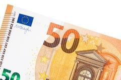 Euro bankbiljet vijftig op witte achtergrond Stock Fotografie