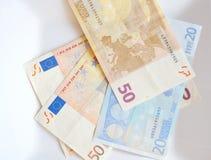 Euro bankbiljetgeld Stock Afbeeldingen