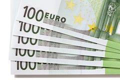 Euro 100 bankbiljetten Stock Afbeeldingen