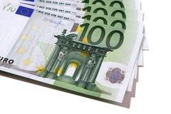 Euro 100 bankbiljetten Royalty-vrije Stock Fotografie