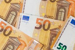 Euro bankbiljetten - bedrijfsachtergrond Royalty-vrije Stock Foto
