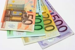 Euro bankbiljetten, close-up Stock Foto's