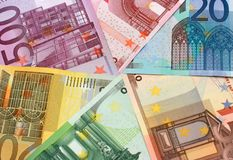 Euro bankbiljetten, close-up Royalty-vrije Stock Afbeelding