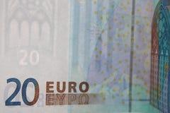 Euro bankbiljetten 20 - de Foto's van de geldvoorraad Royalty-vrije Stock Fotografie