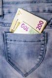 Euro bankbiljetten in de zak Royalty-vrije Stock Foto