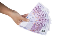 Euro bankbiljetten die ter beschikking op wit worden geïsoleerdr Royalty-vrije Stock Afbeeldingen