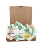 Euro bankbiljetten in een doos Royalty-vrije Stock Afbeeldingen