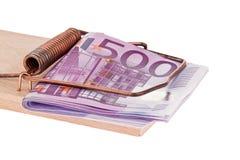 Euro bankbiljetten in een muizeval. Stock Fotografie