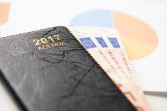 Euro bankbiljetten en documenten de agenda van 2017 Royalty-vrije Stock Afbeeldingen