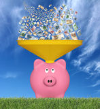 Euro bankbiljetten en spaarvarken Stock Fotografie