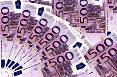 Euro Bankbiljetten 500 euro Stock Foto