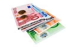 Euro bankbiljetten met muntstukken Royalty-vrije Stock Foto's