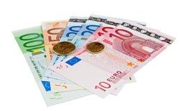 Euro bankbiljetten met muntstukken Royalty-vrije Stock Afbeeldingen