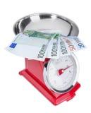 Euro bankbiljetten op de schalen Inflatieeuro Stock Afbeelding