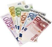 Euro bankbiljetten op wit close-up als achtergrond stock afbeelding