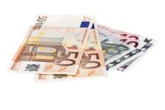 Euro bankbiljetten op witte achtergrond Royalty-vrije Stock Afbeeldingen