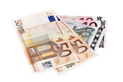 Euro bankbiljetten op witte achtergrond Stock Foto's