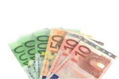 Euro bankbiljetten over wit Stock Afbeeldingen