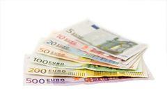 Euro bankbiljetten van vijf tot vijf honderd stock afbeeldingen