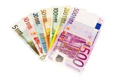 Euro bankbiljetten van vijf tot vijf honderd stock fotografie