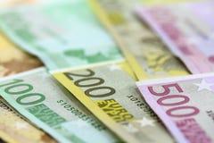 Euro bankbiljetten. Vijftig tot vijf honderd. Royalty-vrije Stock Afbeeldingen